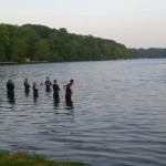 Jeff Stuart teaches the open water swim clinic at Lake Terramuggus