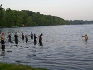Jeff Stuart teaches the open water swim clinic at Lake Terramuggus